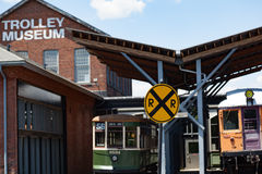 Working Street Cars at Trolley Museum Royalty Free Stock Photography