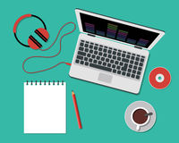 Working or studying concept. Flat Style. Top view of a table with note paper, laptop, headphones and coffee cup. Working or studying concept. Flat Style Modern Stock Photos