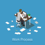 Working and studying concept. Work process concept isometric vector illustration. Office worker doing his job or student studying some subject. Sitting over the Stock Photography