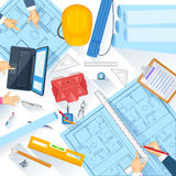 Working table of architect Royalty Free Stock Photos