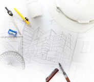 Working table of architect with related equipment Stock Image