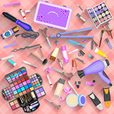 Working table of beautician. Easy to edit vector illustration of working table of beautician Stock Photos
