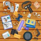 Working table of detective. Easy to edit vector illustration of working table of detective Stock Image