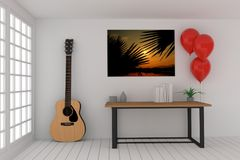 Working table in empty room with acoustic guitar and red balloons in 3D rendering. Working table in empty room with acoustic guitar and red balloons design in 3D Stock Image