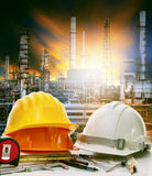 Working table of engineer in oil refinery industry plant use for Royalty Free Stock Images