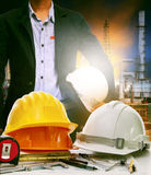 Working table of engineer in oil refinery industry plant use for Stock Image