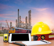 Working table engineer with tablet and tools Stock Images
