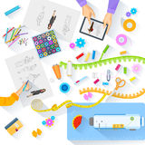 Working table of fashion designer Stock Photography