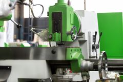 Working table of a new vertical milling machine. royalty free stock images