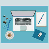 Working Table with Office Supplies Stuff Royalty Free Stock Images