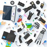 Working table of photographer Royalty Free Stock Photography