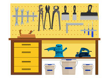 Working table with spanner planer scissors palette knife pincers Stock Photos