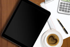 Working table with tablet PC and copy pen Royalty Free Stock Photo