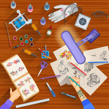 Working table of tattoo artist. Easy to edit vector illustration of working table of tattoo artist Stock Photography