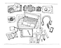 Working table top view illustration Stock Photo