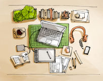 Working table top view illustration Royalty Free Stock Photo