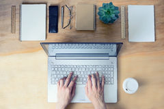 Working table, typing hands Stock Photos