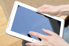Working with the tablet Royalty Free Stock Photo