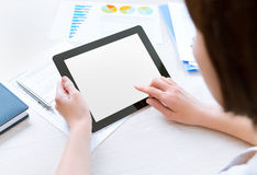 Working with tablet computer Stock Photo