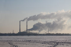 Working thermal power station Royalty Free Stock Photos