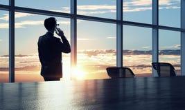 He is working till sundown. Mixed media . Mixed media Royalty Free Stock Photography