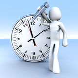 Working time. A cartoon figure with a clock. 3D rendered Illustration Stock Image