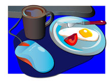 Working time. Vector illustration of work -food background stock illustration