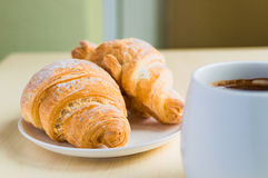 Working time, coffee break with some croissants.  Stock Photography