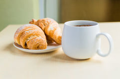 Working time, coffee break with some croissants Stock Photography