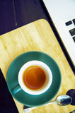 Working time. hot coffee, espesso with laptop. business concept Royalty Free Stock Photo