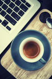 Working time. hot coffee, espesso with laptop. business concept Stock Image