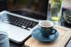 Working time. hot coffee, espesso with laptop. business concept Stock Photo