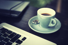Working time. hot coffee, espesso with laptop. business concept Royalty Free Stock Image