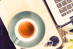 Working time. hot coffee, espesso with laptop. business concept Royalty Free Stock Images