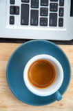 Working time. hot coffee, espesso with laptop. business concept Stock Photography