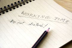 Working time notice Stock Images