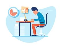 Working time at workplace. Man works at computer. Vector illustration Royalty Free Stock Photo