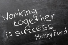 Working together. Final phrase of famous Henry Ford quote Coming together is a beginning. Keeping together is progress. Working together is success. handwritten Stock Photos