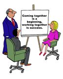 Working Together. Business cartoon of business meeting and a chart that reads, 'coming together is a beginning, working together is a success Stock Photos