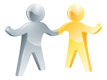 Working together concept. Gold and silver man shake hands with their other hands happily raised Stock Photo