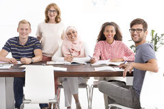 Working together despite cultural differences Stock Image