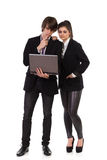 Working together on a laptop Royalty Free Stock Photo