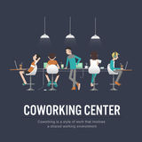 Working together Shared working space. Vector illustration of coworking center concept, people talking , meeting in coffee shop, working together,Shared working Royalty Free Stock Photos