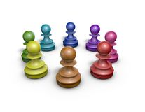 Working together in team abstract concept with colorful chess pawns, Illustration isolated. Royalty Free Stock Photos