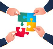 Working together to uniting puzzle piece. Business concept vector illustration vector illustration