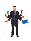 Working too much. Businessman or office employee doing too much work - isolated stock images