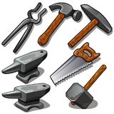 Working tool of blacksmith and carpenter. Seven icons isolated on white background. Vector in cartoon style. Working tool of blacksmith and carpenter. Seven stock illustration