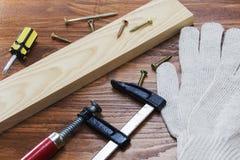 Working tool carpenter ruler, chisel, pencil, sawdust and shavings. Working tool carpenter ruler, chisel, pencil, sawdust and shavings stock photography