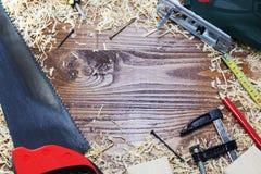 Working tool carpenter ruler, chisel, pencil, sawdust and shavings. Working tool carpenter ruler, chisel, pencil, sawdust and shavings royalty free stock image