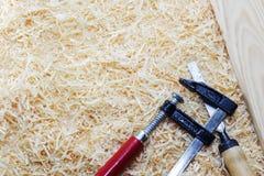 Working tool carpenter ruler, chisel, pencil, sawdust and shavings. Working tool carpenter ruler, chisel, pencil, sawdust and shavings stock photos
